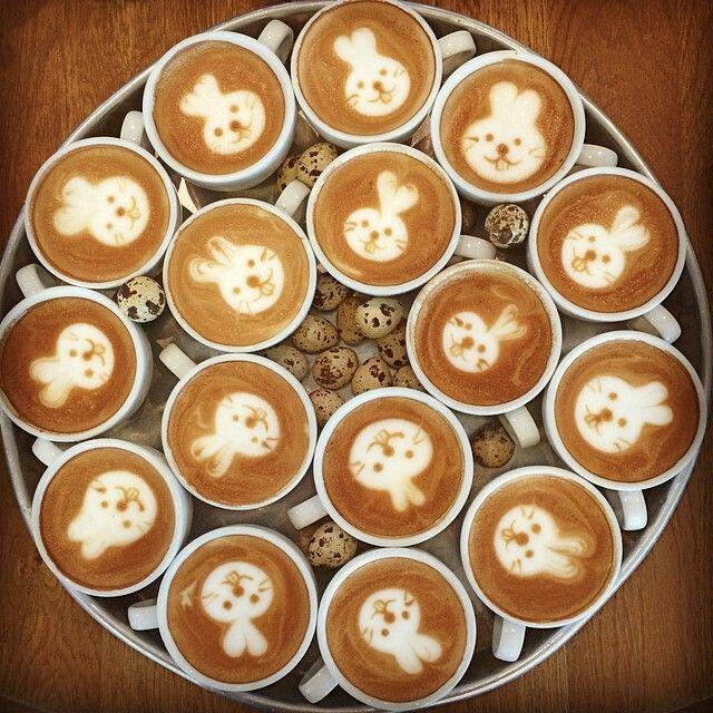 Easter Bunny Latte Art   Coffee recipes, Coffee latte art, Latte art