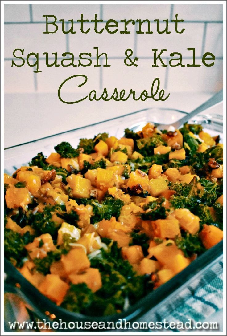 Butternut Squash & Kale Casserole This butternut squash and kale casserole turns simple ingredients into nutritious comfort food that can be enjoyed either as a holiday side dish or a weeknight meal. A perfect warm and comforting dish for a cold fall or winter day or night!