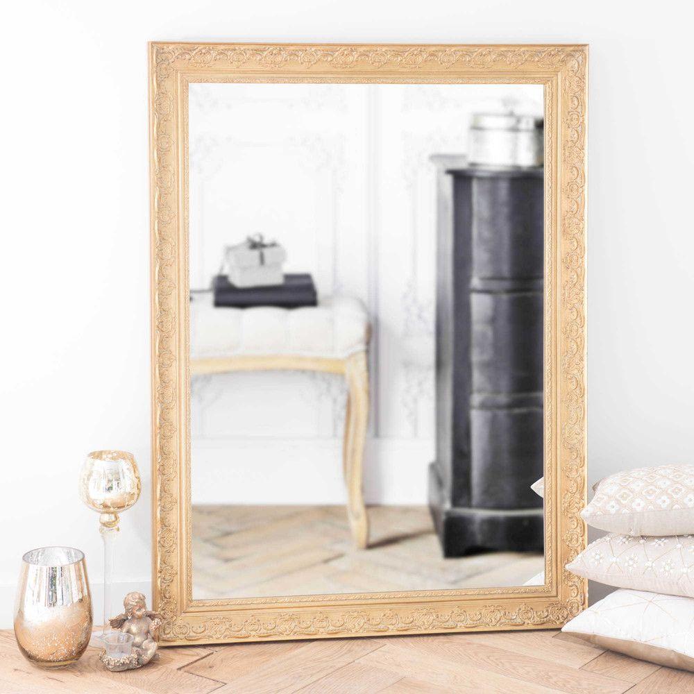 Spiegel Met Goudkleurige Lijst Paulownia 90x120 Interior