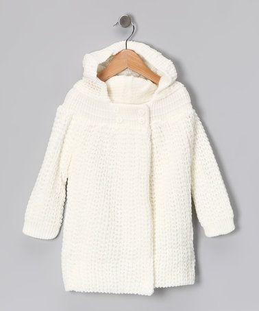 $18.99 Cream Knit Hooded Cardigan - Infant #zulily #zulilyfinds
