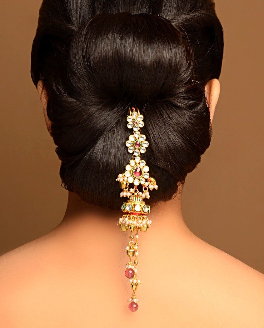 Simple Juda Hairstyle For Wedding: Lovely Up-do With Tasseled Jhumki Drop Jooda Pin By Bansri