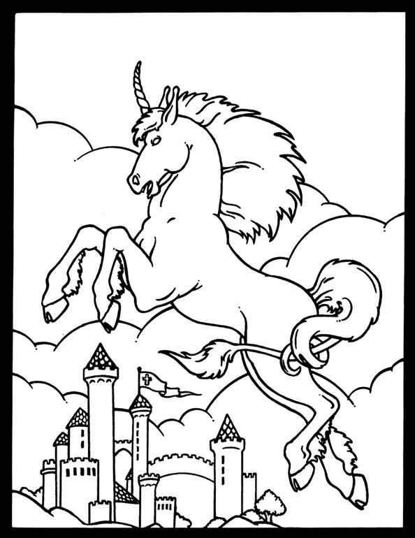 Unicorn And Castle Coloring Page Welcome To Dover Publications
