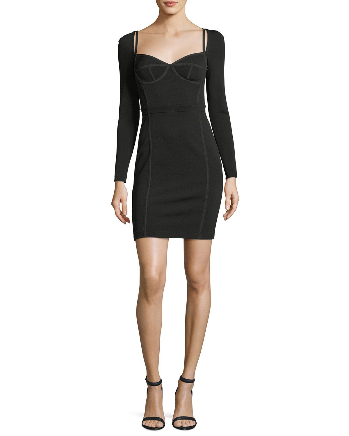 Black bustier dress with long sleeves going out formal pinterest