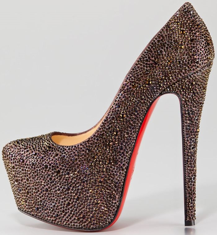 christian louboutin daffodile strass crystal red sole pump