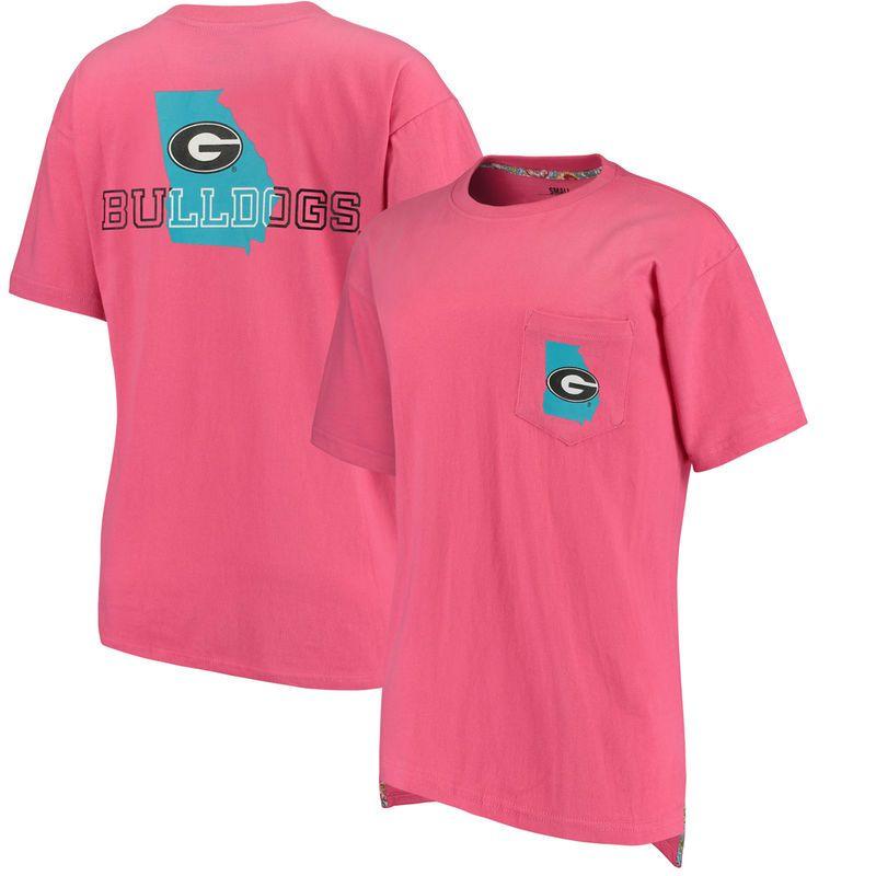 Georgia Bulldogs Pressbox Women's Lowdoh Oversized Pocket T-Shirt - Pink