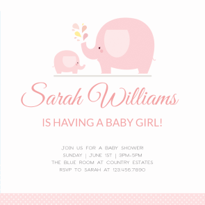 Pink Baby Elephant  Free Printable Baby Shower Invitation