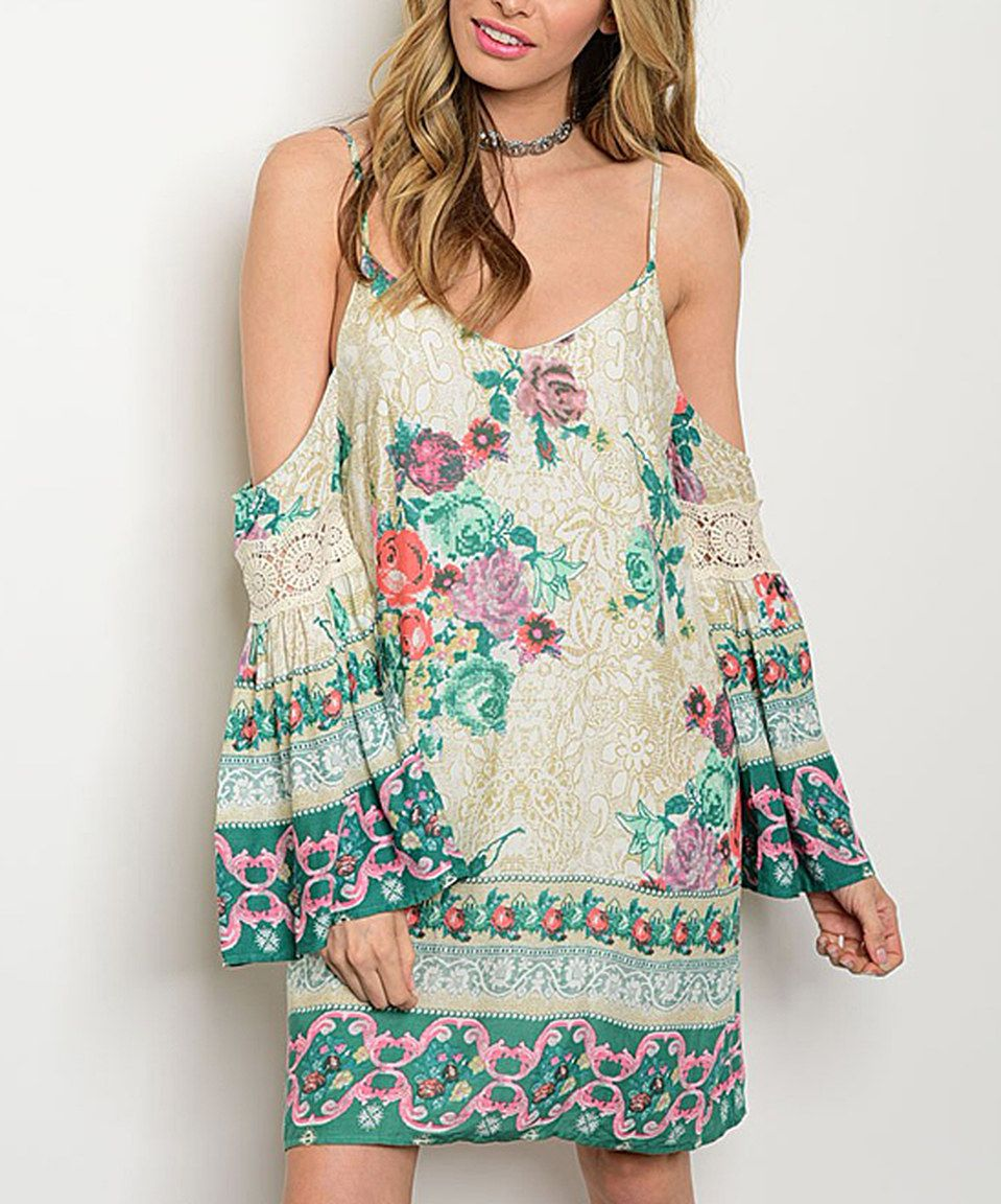 Take a look at this Ivory & Green Floral Cold-Shoulder Shift Dress today!