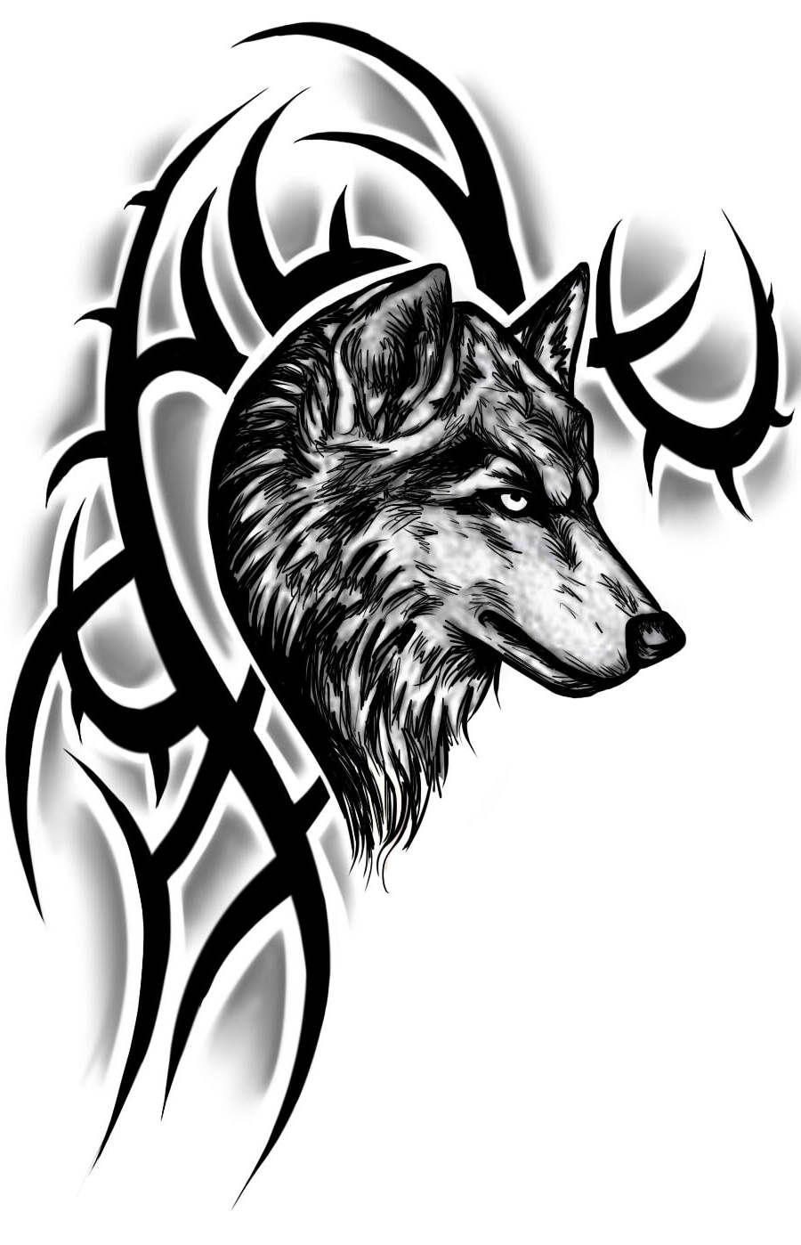 Realistic Wolf Head With Tribal Design Tattoo Sample Tattoos