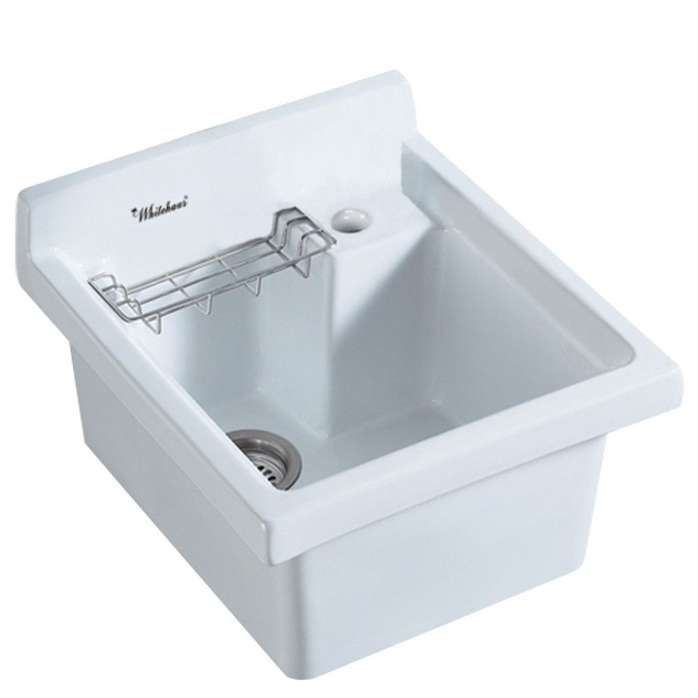 Whitehaus Vitreous China Single Bowl Drop In Sink