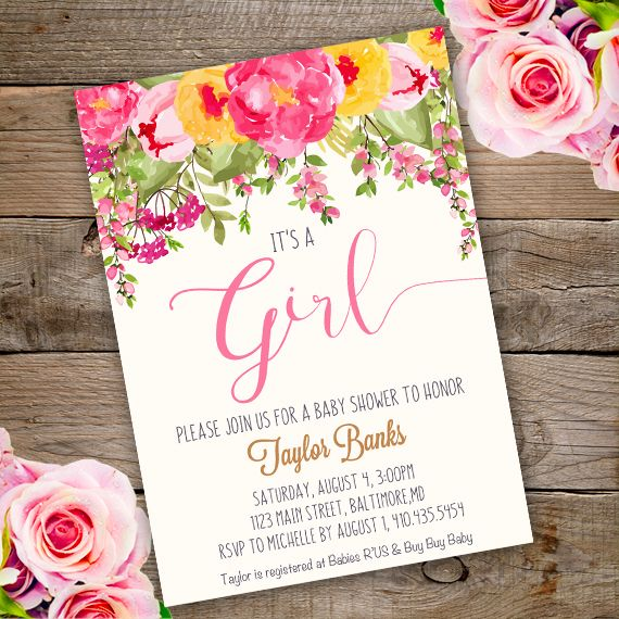 printable whimsical girl baby shower invitation template with