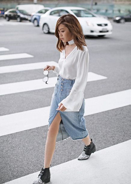 Shirt: tsangtastic blogger sweater denim skirt white blouse choker ...