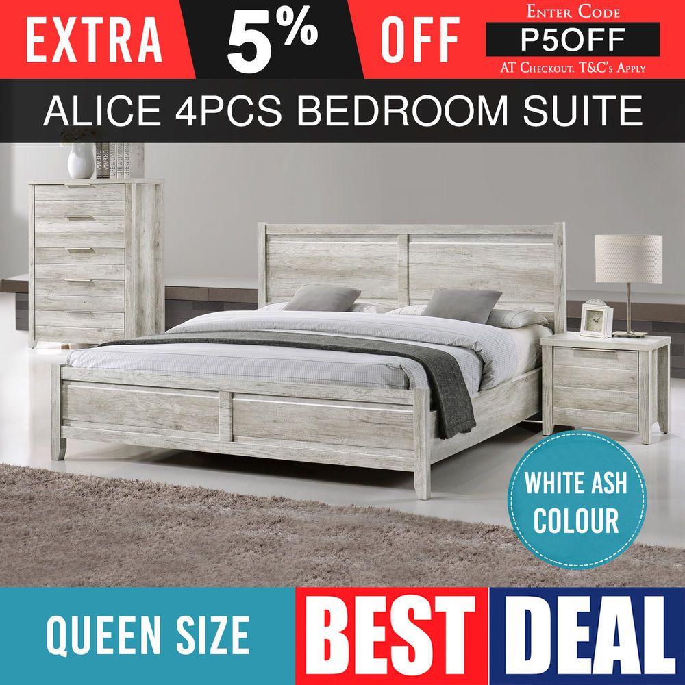 queen size bedroom suite mdf bed bedside tallboy 4pcs white ash rh pinterest com