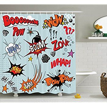 Ambesonne 1950s Decor Collection Comic Book Explosion Expression