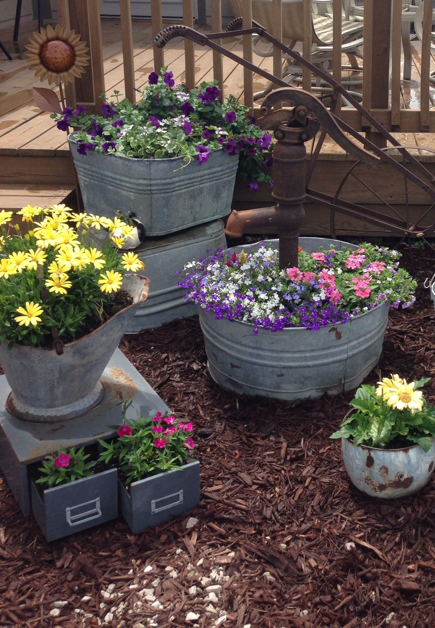 Great Way To Have Flowers Where They Won T Grow In 2020 Garden Junk Vegetable Garden Tips Garden Containers