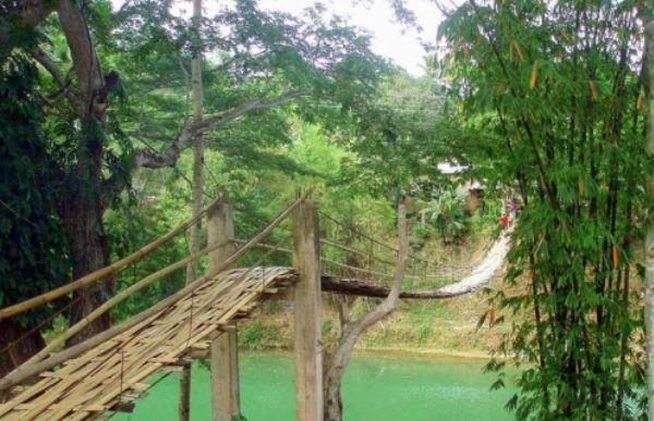 laboc hanging bridge bamboo in the philippines rope