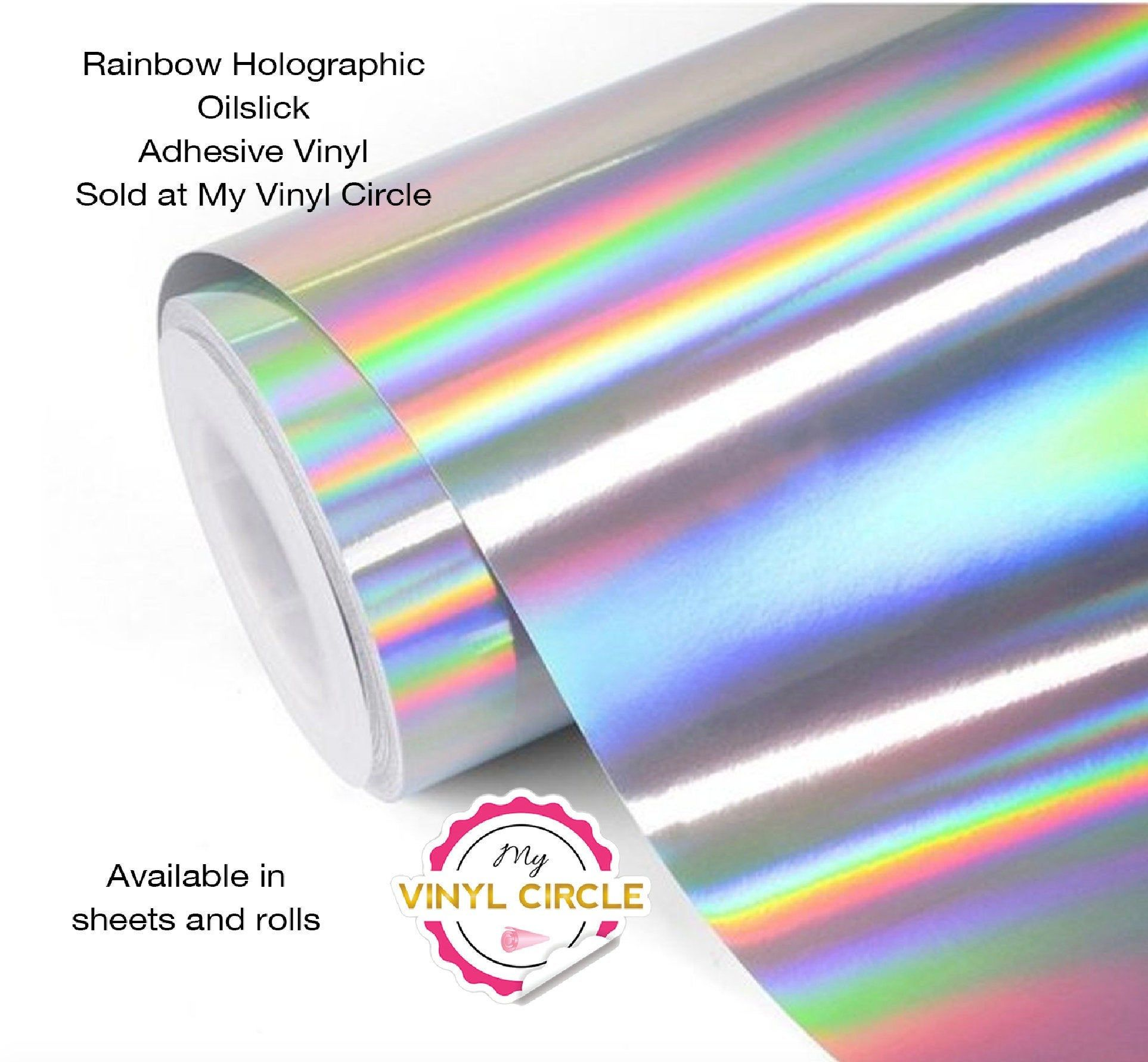 Adhesive Rainbow Chrome Vinyl Silver Oil Slick Vinyl, Rainbow Chrome Holographic Vinyl Sheets or Roll, Permanent Vinyl Decal Vinyl #651 #cricut #cameo #UnicornHtv #Permanent #oilslick #OilSlick #silhouette #UnicornVinyl #AdhesiveVinyl