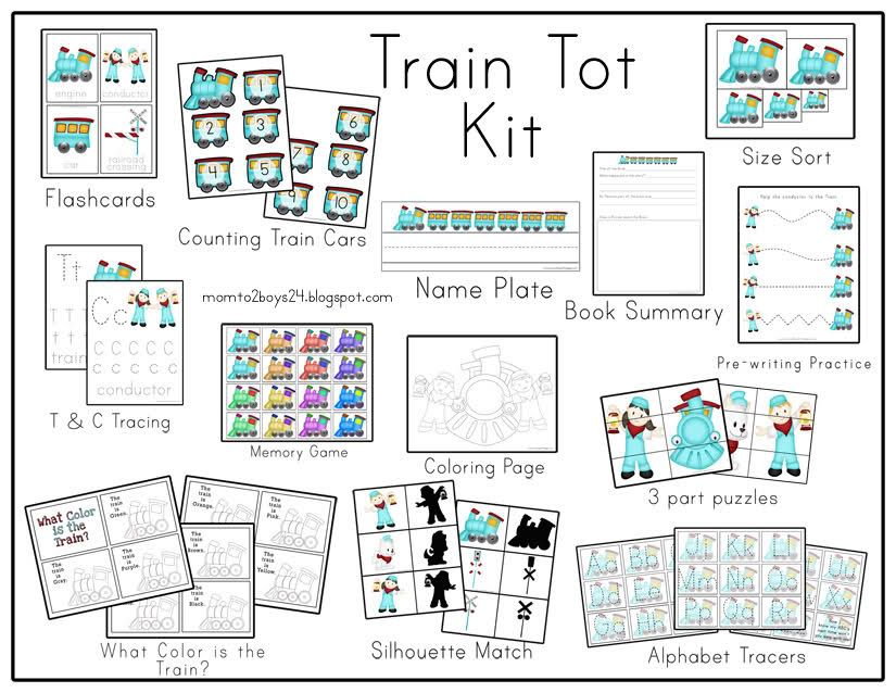 Kit Includes:  Book Summery for  your book of choice to go with the Kit  Flashcards that have easy to trace words  Counting Train Cars for working on numeric order  Name Plate for childs name  Size Sort Trains  Letters T & C tracing papers  Memory Game   Coloring Page  Pre-writing practice  3 part puzzles  What color is the Train? Just color the train the color the paper says then staple into a book  Silhouette Match  Alphabet Tracers ( you can also use these for alphabet order once the…