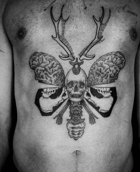 ottodambra #linework #stag #tattooetching #tattoo #surreal