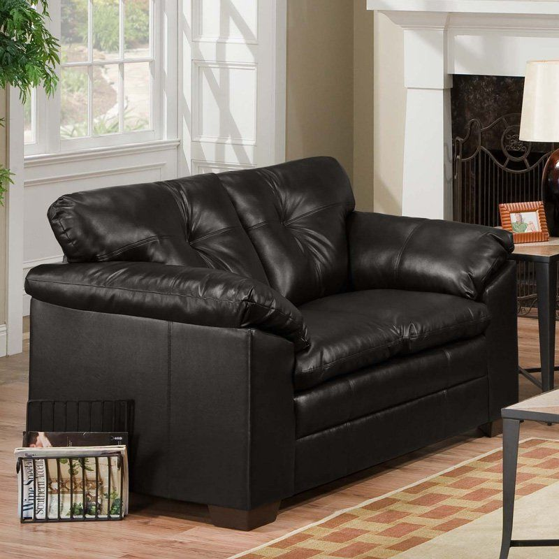 simmons sebring black leather loveseat 6569 02 black products rh pinterest ca