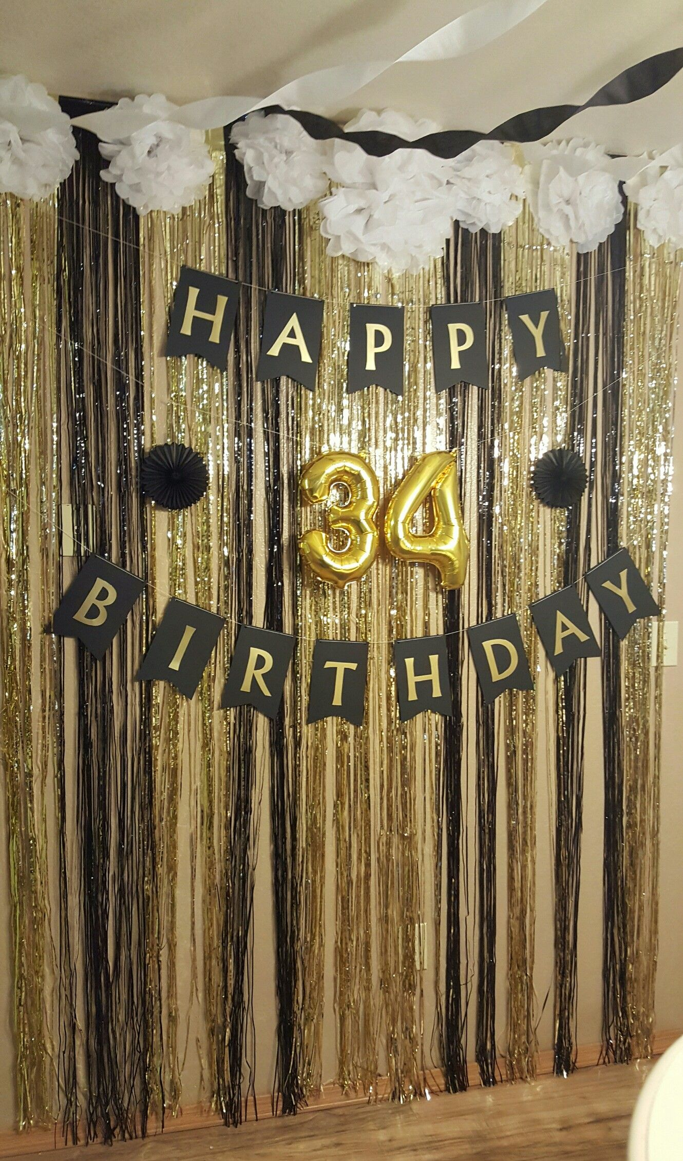 Black white and gold surprise birthday party decor for 50th party decoration