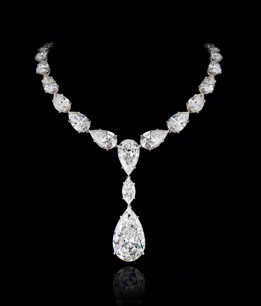 LEVIEV D Internally Flawless Diamond Necklace totaling 95.13 carats, handcrafted in platinum.