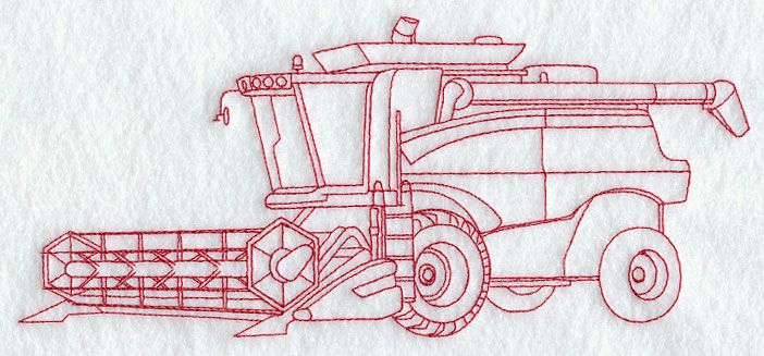 Tractor with Combine (Redwork) | Machine embroidery ...