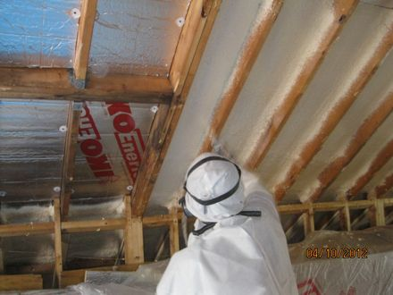 2x12 Rafters 2 Foil Board Is Also A Chute Vent For Soffit To Peak Roof Venting Coated With Spray Foam And Then Bay D Cozy House Home Repair Home Renovation