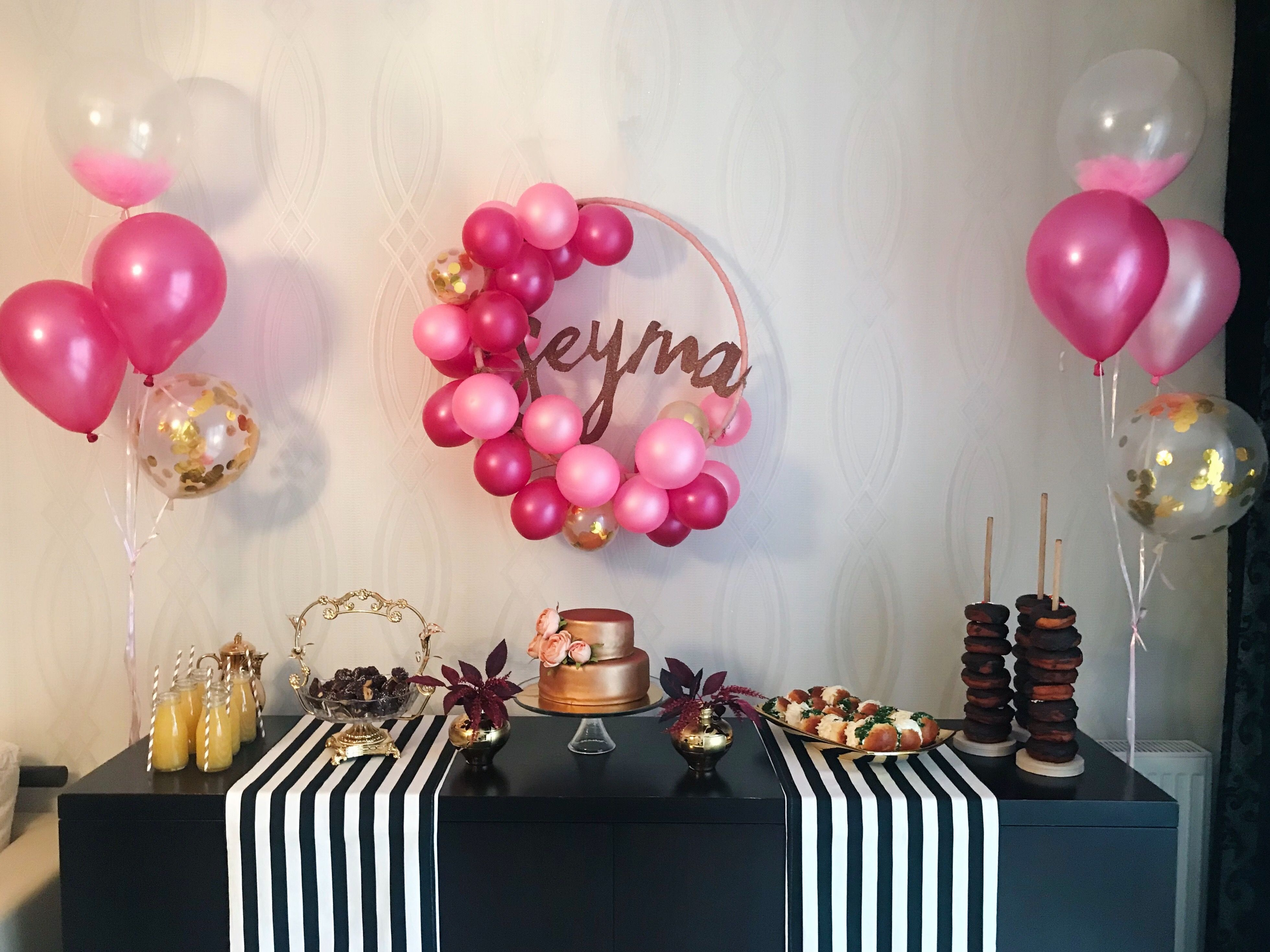 Rose Gold Birthday Cake Pink Maroon Balloons Striped Runner Table Party Decoration