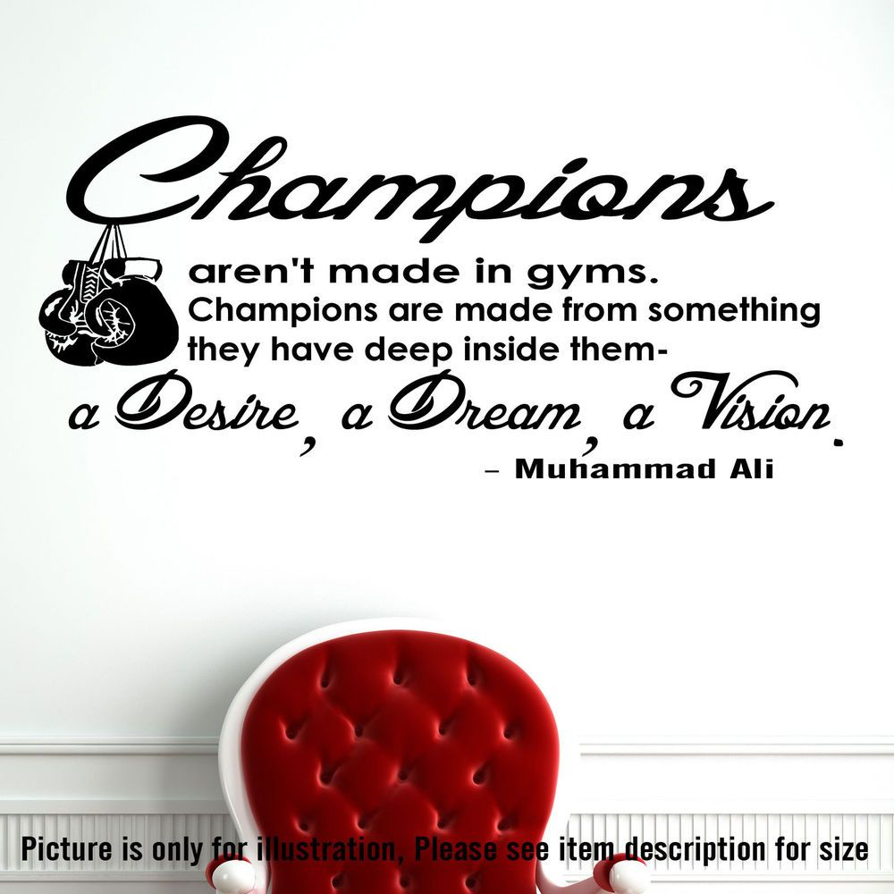 Details about muhammad ali wall art champion quote sticker decal gym