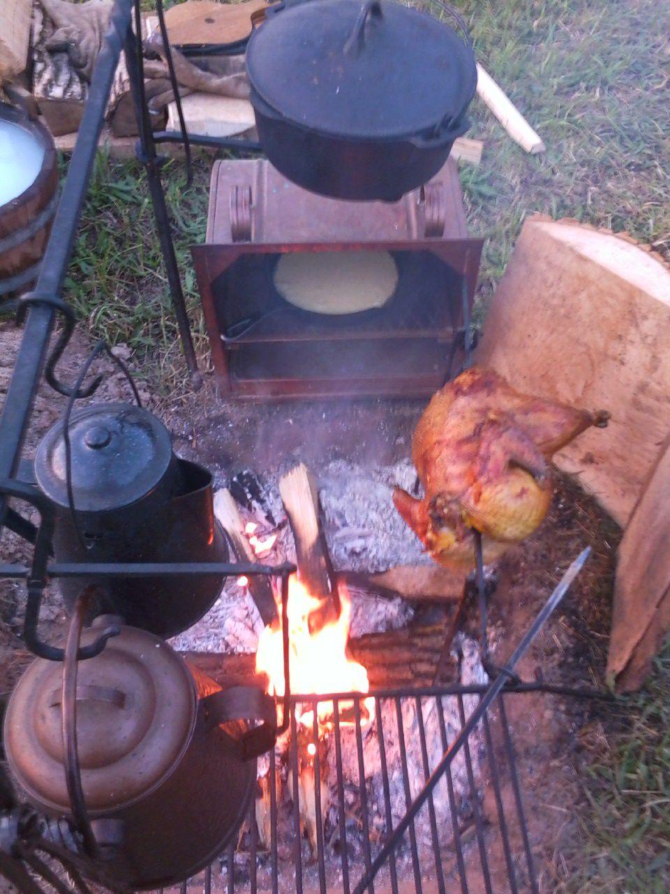 camp cooking copper tea kettle chicken on a spit copper reflector rh pinterest com