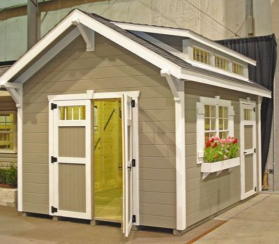 Garden shed trim door and flower box cute nest for Exterior shed doors design