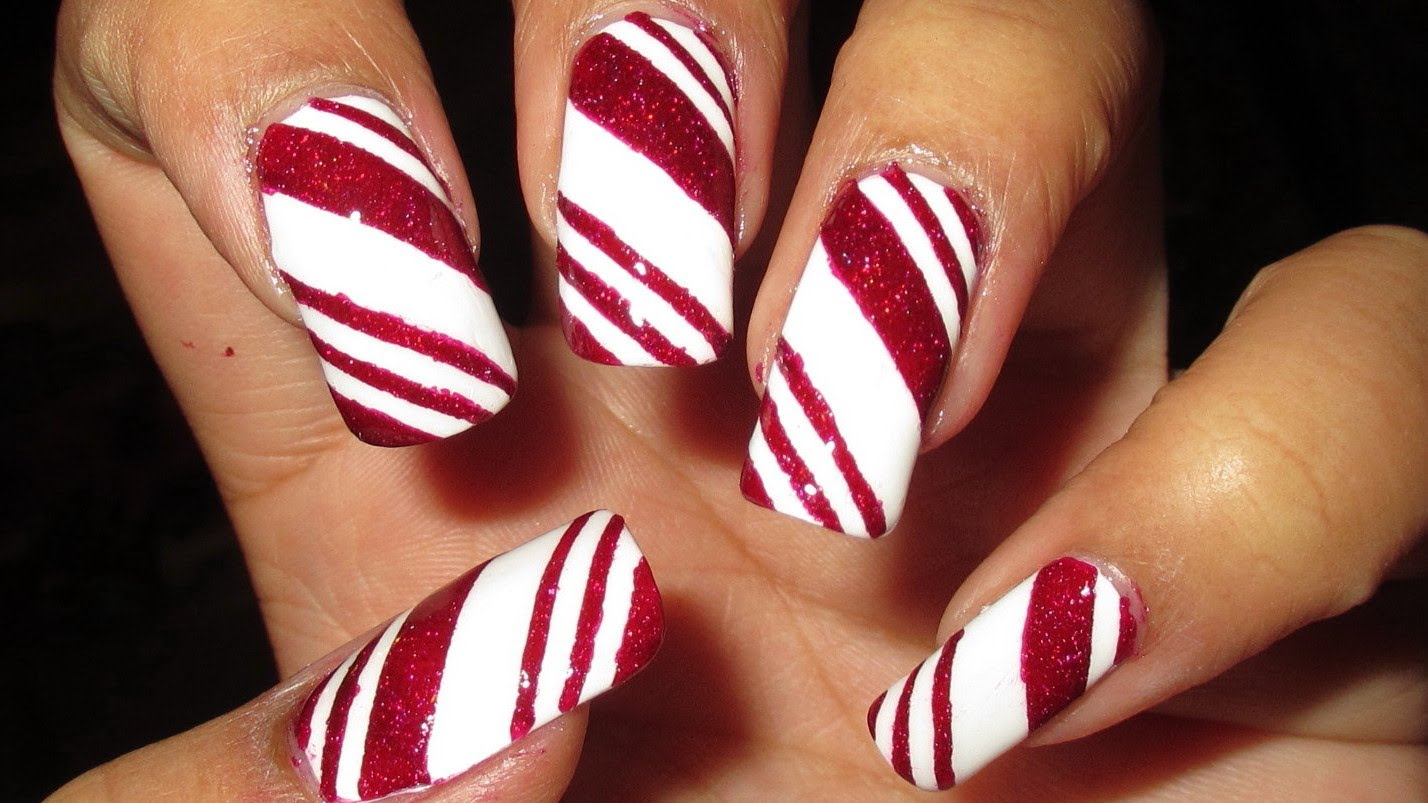 Candy Cane Nail Art Tutorial So Going To Do This Candy Cane Nails Holiday Nail Designs Christmas Nail Designs