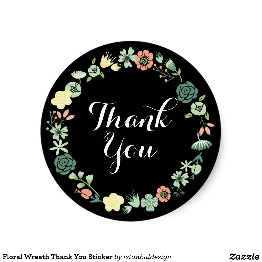 Floral Wreath Thank You Sticker Floral Wreath