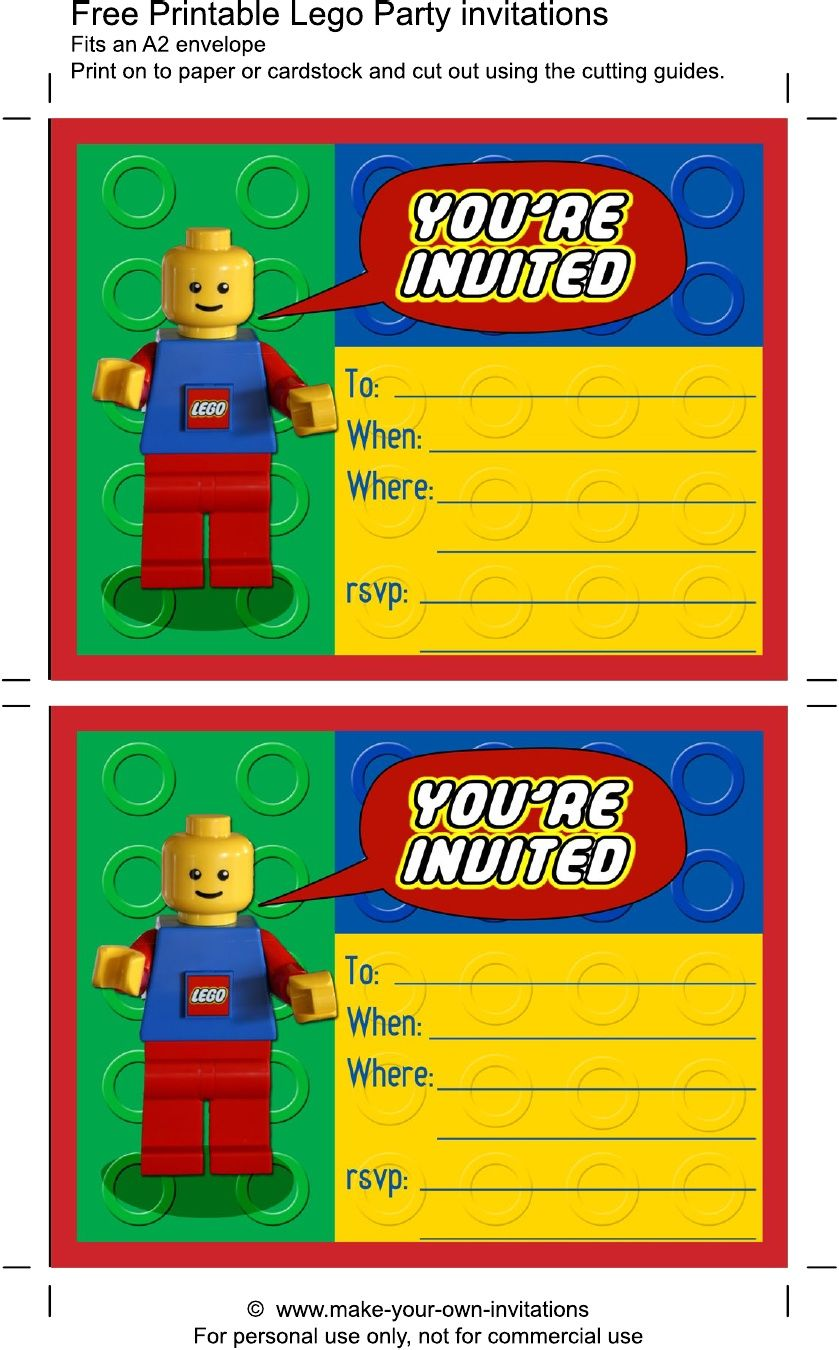 Printable Lego Birthday Invitations