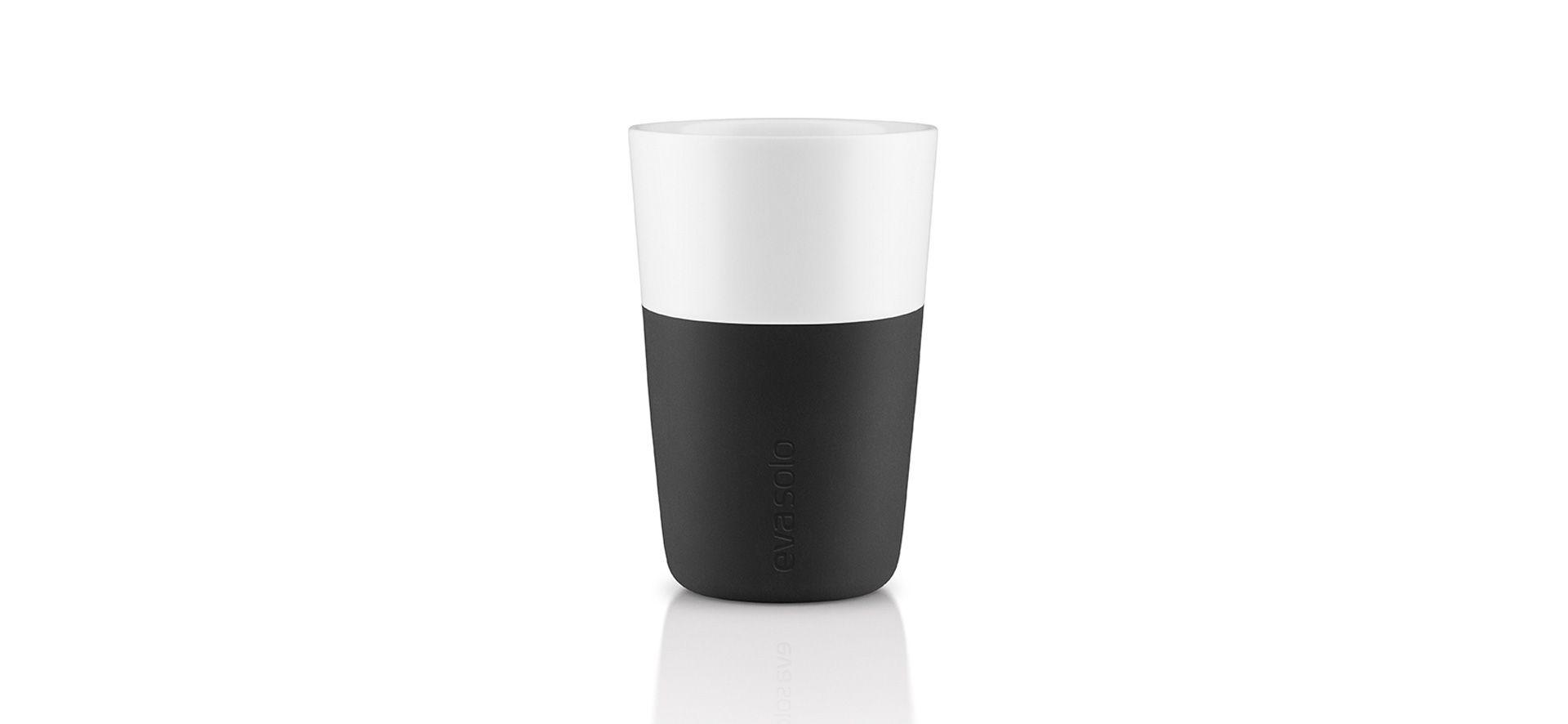 Cafe latte mugs black
