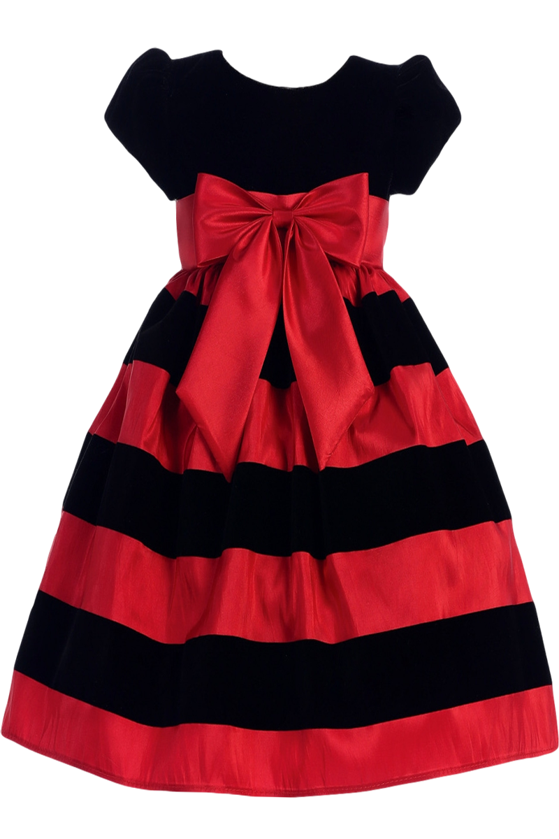 Black Velvet & Red Flocked Taffeta Christmas Holiday Dress (Girls ...