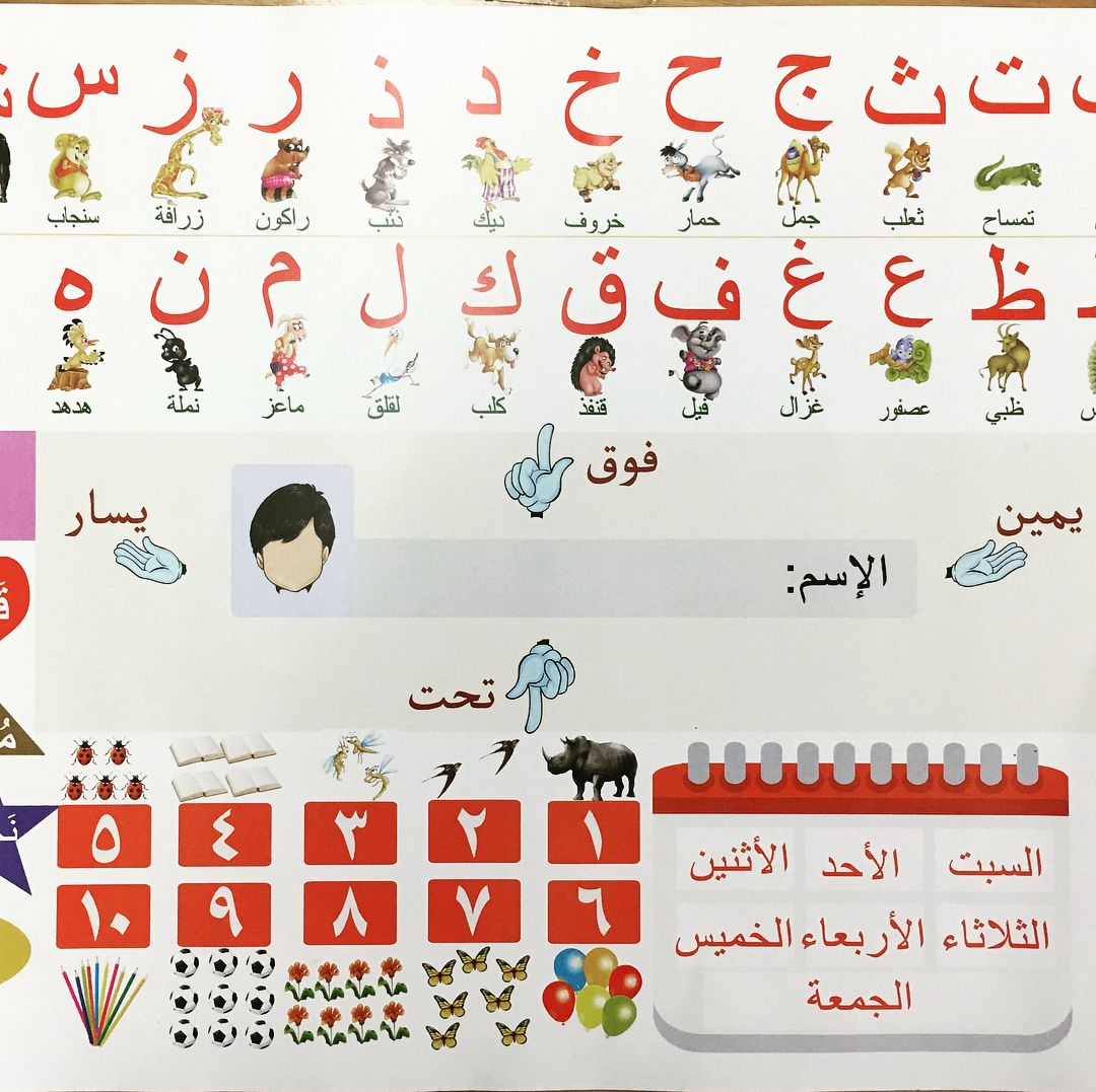 Sabeel Education Centre New Resource For Everyday Table Use Colourful Arabic Alphabet And Basic Information All In One Co Education Center Education Alphabet