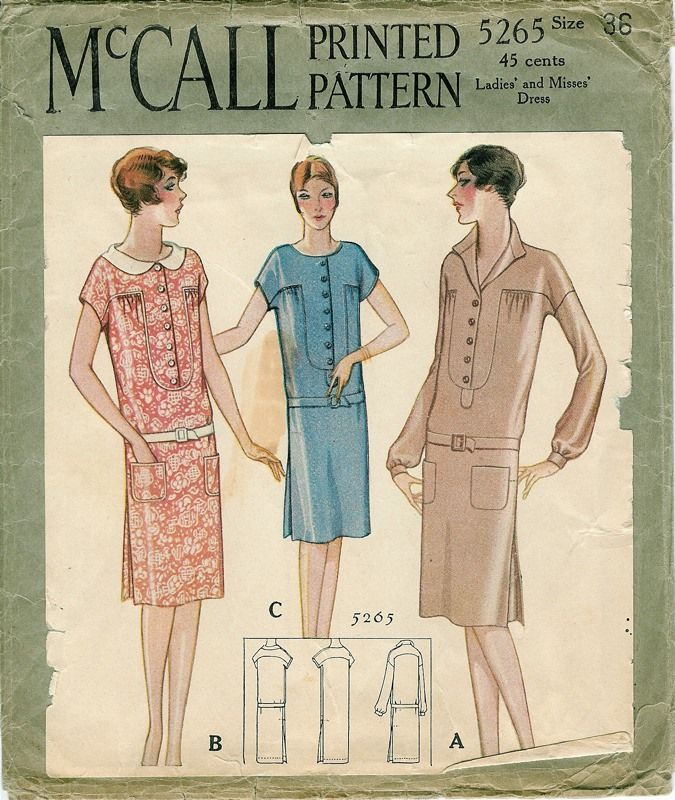1928 McCall Printed Pattern Ladies\' and Misses\' Dress | Patterns ...