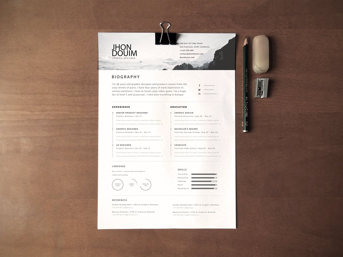 Cv Templates Design%0A Clean Realistic Resume   CV Template PSD I like the rankings for languages