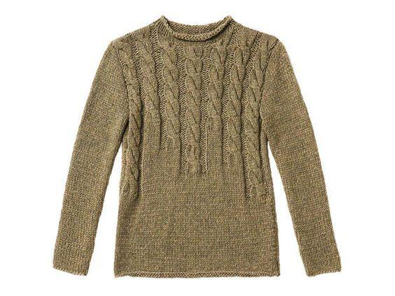Strickmuster: Braunen Pullover mit Zopfmuster stricken | Knitting ...