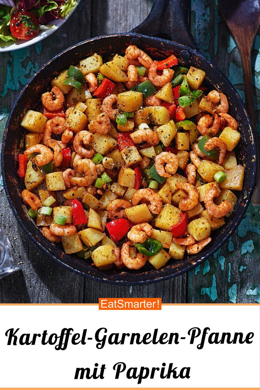 Kartoffel-Garnelen-Pfanne mit Paprika