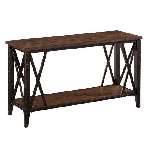 magnussen fleming wood and metal sofa table rustic pine finish rh pinterest com