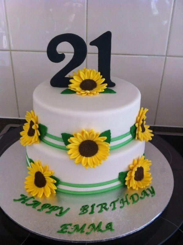 Peachy Sunflower Cake Sunflower Cakes Sunflower Birthday Cakes 21St Funny Birthday Cards Online Necthendildamsfinfo