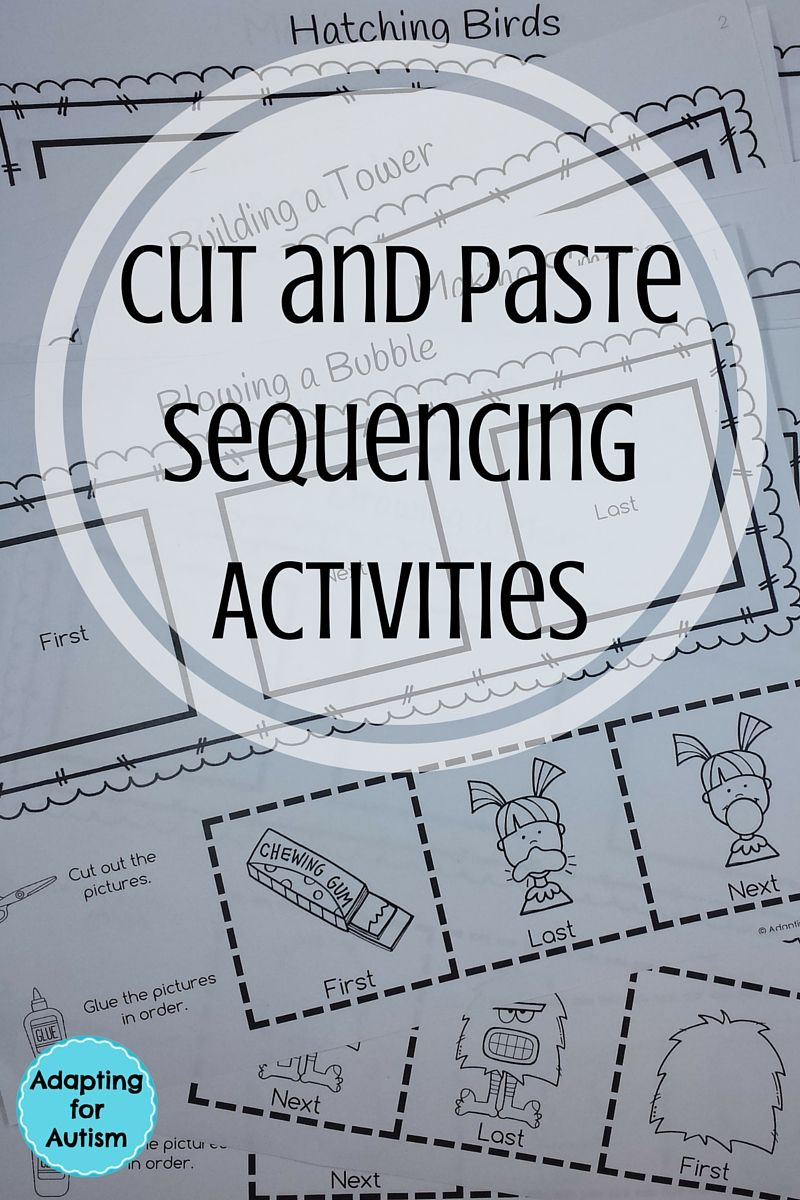 Cut and Paste Sequencing Worksheets for Special Education and Autism ...