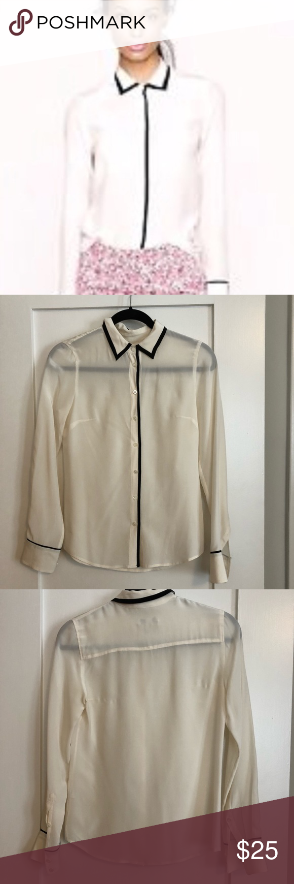 831d3a33c7c8c0 J.Crew White Silk Blouse with Black Trim Classic white silk blouse with  black trim