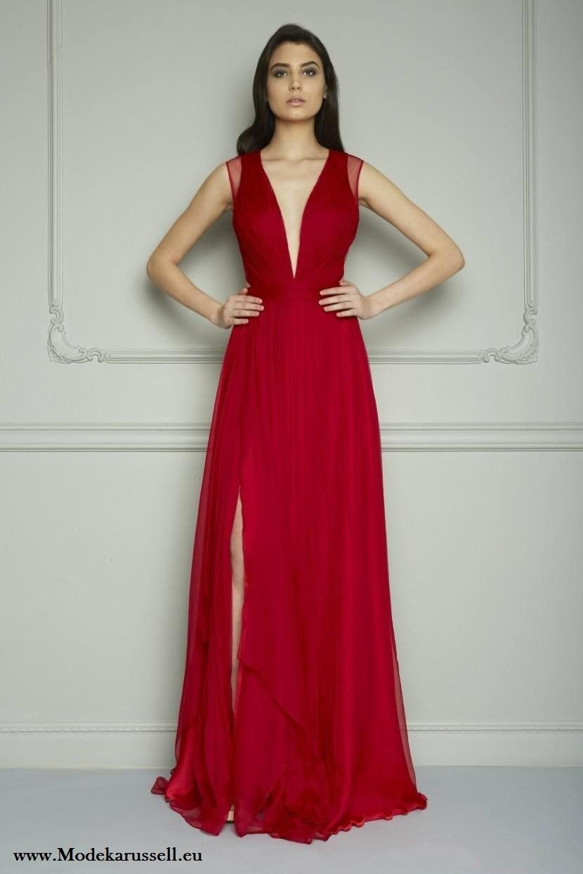 Rotes Abendkleid mit Tiefen Dekollette  Rotes abendkleid