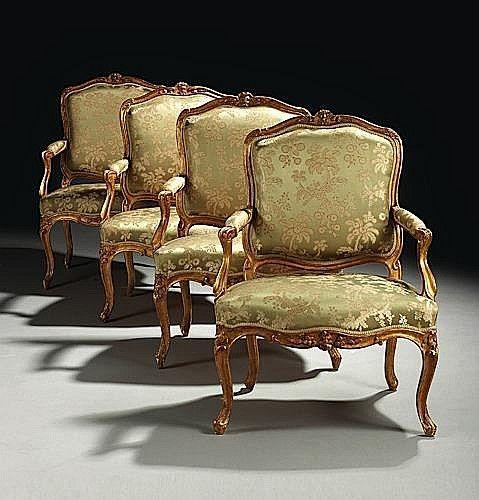 suite de quatre fauteuils a la reine d epoque louis xv esta rh pinterest com