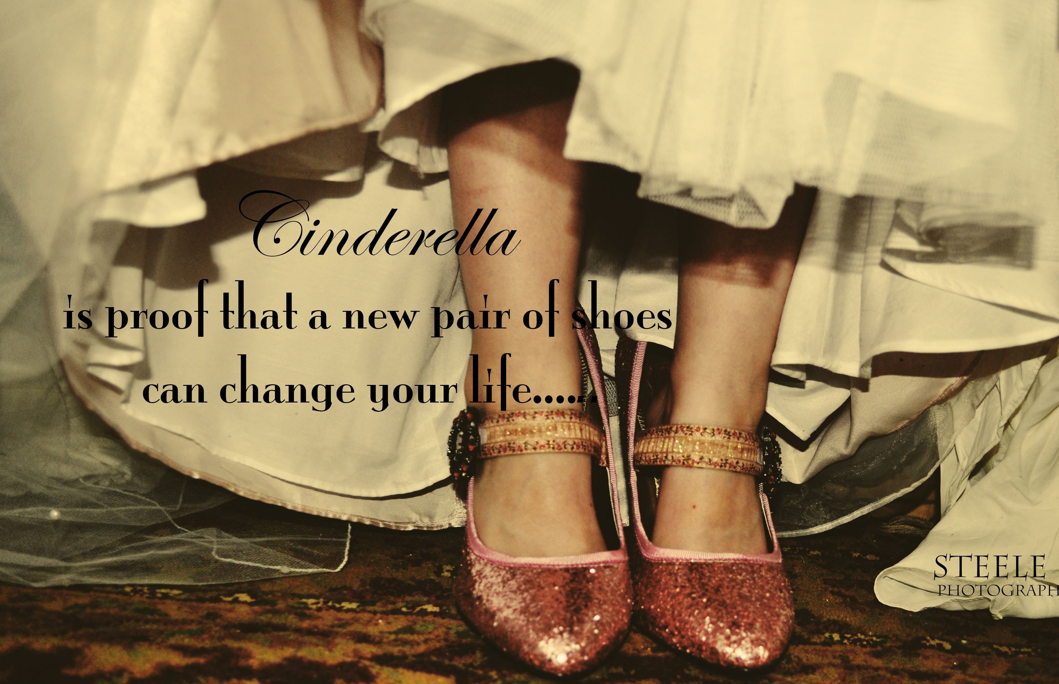 Pink Shoes Vintage Quote Cinderella Glitter Sparkle
