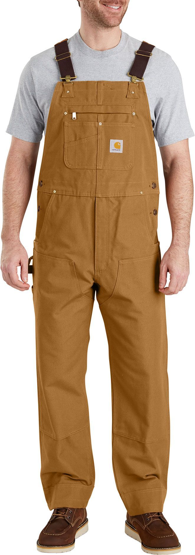 carhartt men s duck bib lined overalls brown in 2019 on insulated overalls for men id=31399