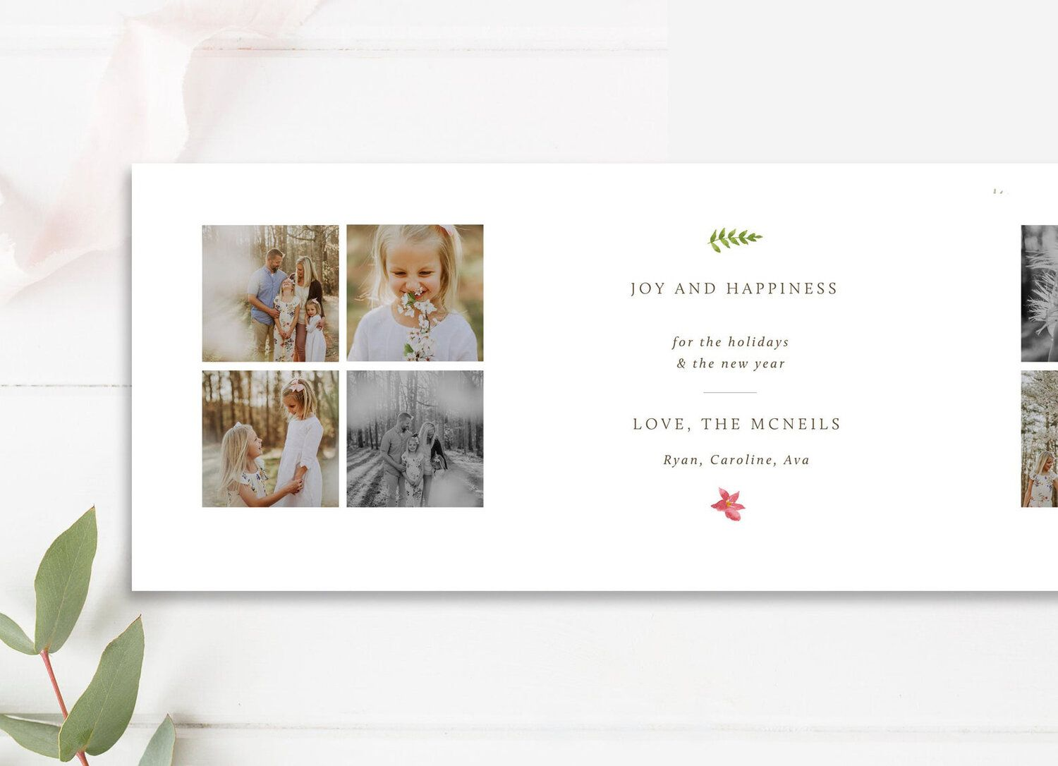 Tri Fold Holiday Card 5x5 Accordion Trifold Design Photoshop Template Design Folded Holiday Cards Photo Card Template